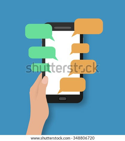 Hand holding black smartphone with chat bubbles. on blue backgound with shadows. Vector illustration in flat design. Concept for web design, promotion templates, infographics. vector illustration - stock vector
