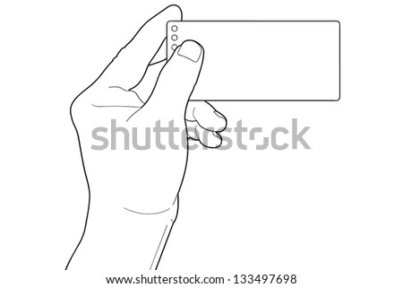 Hand holding blank paper Isolated on white