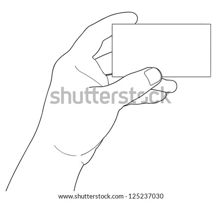 Hand holding blank paper isolated on white background - stock vector