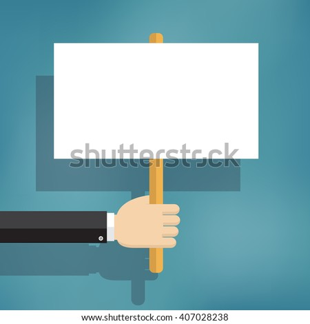 Hand holding blank protest boards in flat style.