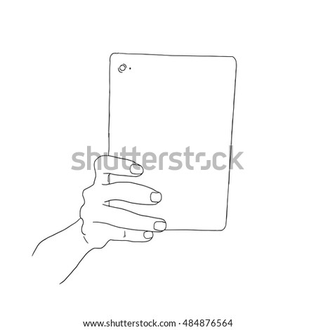 Hand holding blank screen of tablet computer. Using digital tablet pc similar to ipad.
