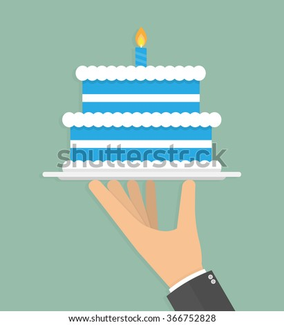 Hand holding blue birthday cake on a silver serving tray with burning candle stick on it. Flat design - stock vector