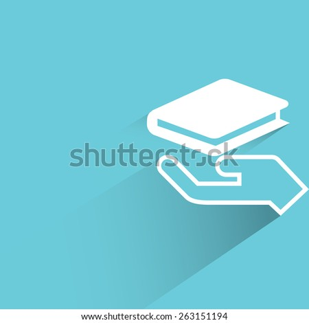 hand holding book - stock vector