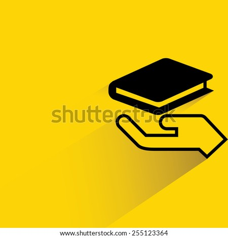 hand holding book on yellow background, flat and shadow theme - stock vector