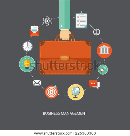 Hand holding briefcase with icons. Business management flat illustration.Eps10 - stock vector