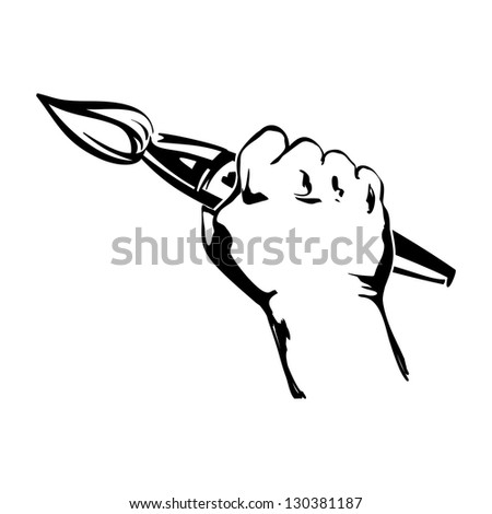 hand holding brush vector black illustration
