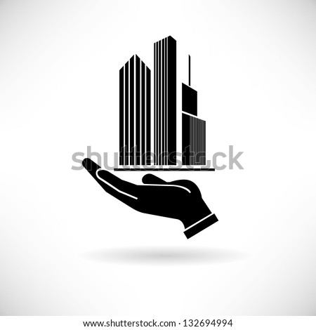 hand holding building, real estate concept background - stock vector