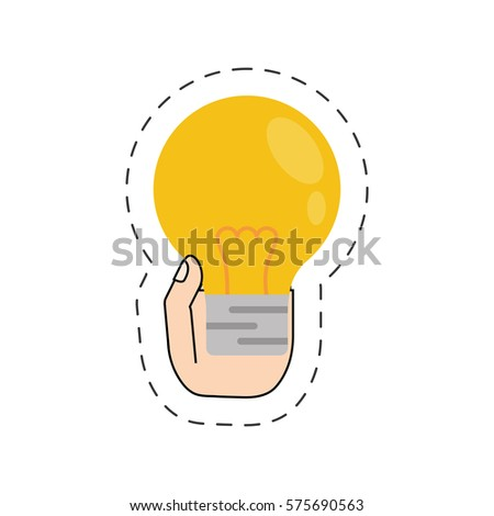 hand holding bulb light cut line vector illustration eps 10