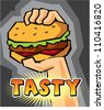 hand holding burger graphic - stock vector