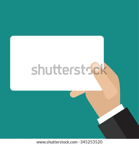 Hand holding business card. Flat icon modern design style vector illustration concept.