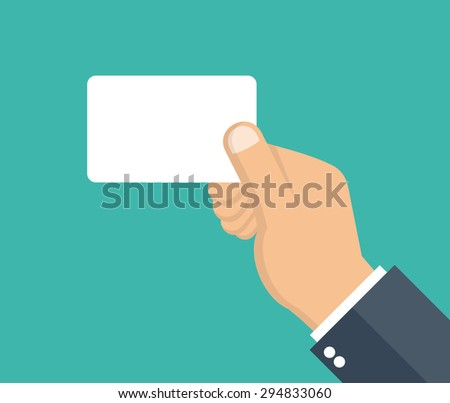 Hand holding business card. Flat style - stock vector