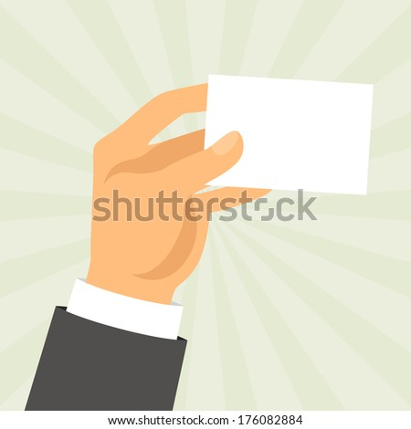 Hand holding business card in flat design style. - stock vector