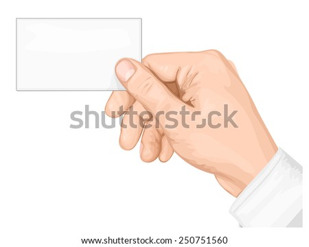Hand holding  business card. vector illustration - stock vector