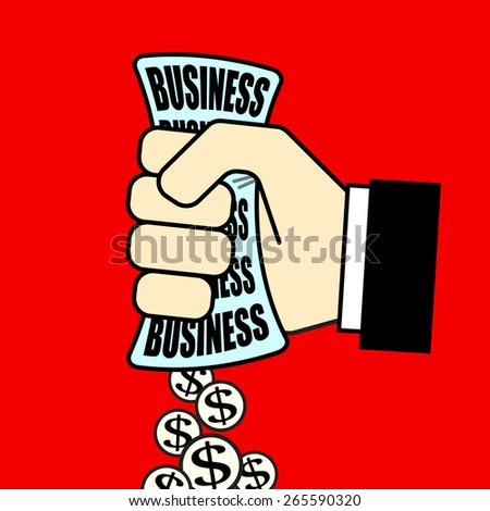 Hand holding business. Vector illustration