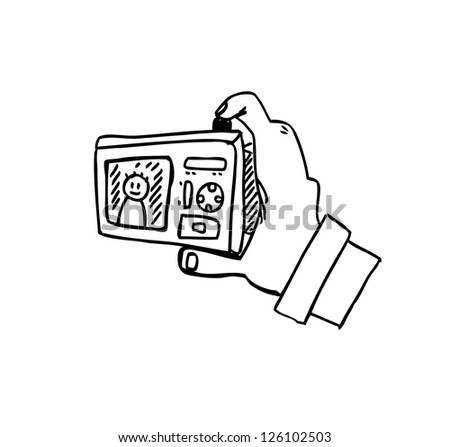hand holding camera icon