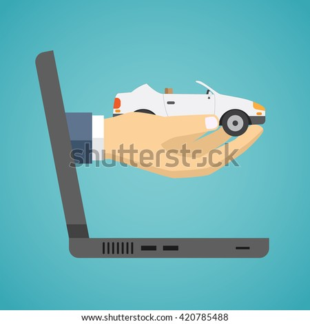 Hand holding car from screen of notebook. Flat design. - stock vector