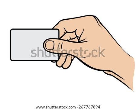 Hand holding card. Vector illustration. - stock vector