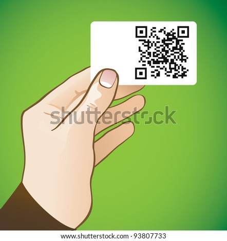 hand holding card with qr code - vector illustration - stock vector