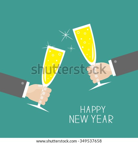 Hand holding champagne glasses with sparkles. Greeting Card. Happy New Year. Flat design. Blue background. Vector illustration - stock vector