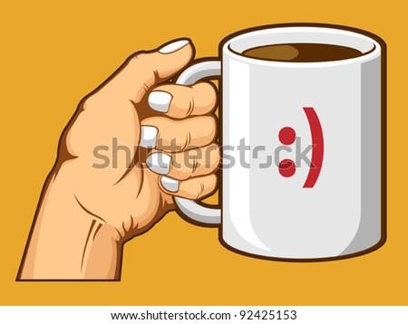 Hand Holding Coffee Mug - stock vector