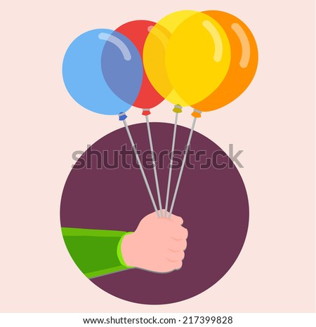 hand holding colorful balloons - flat design vector  - stock vector