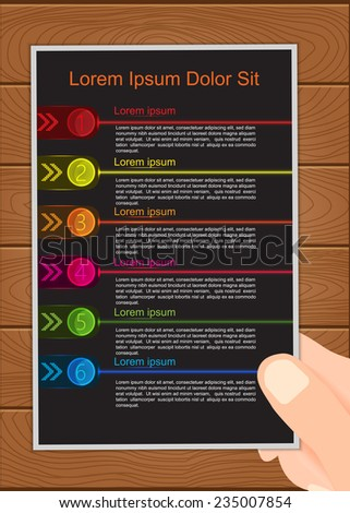 Hand Holding Colorful Glowing Options Template on Wood Background. Business Infographics, Modern Design Template, 6 Options Vector Illustration. - stock vector