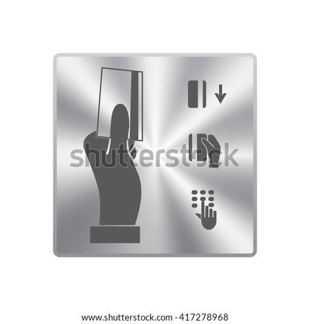 Hand holding credit card, business card, ID icons set - stock vector