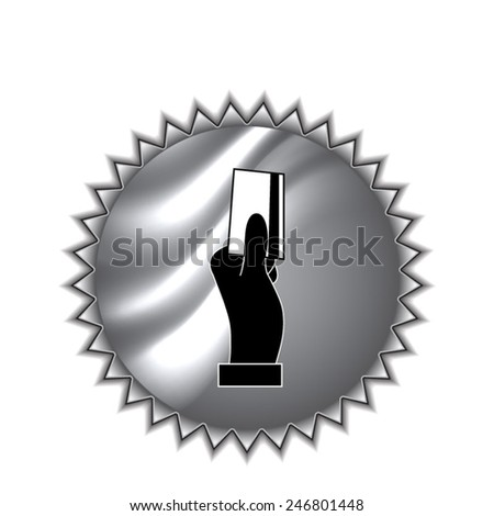 Hand holding credit card, business card, ID icons set with round sticker - stock vector