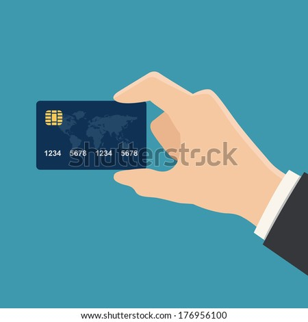 hand holding credit card colorful flat style vector illustration - stock vector