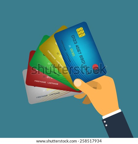 Hand holding credit card flat style vector  - stock vector