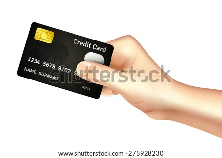 Hand holding credit card for deposit cash withdrawal and money transfer operations promotion poster abstract vector illustration - stock vector