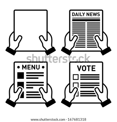 Hand holding different paper sheet icons set - stock vector