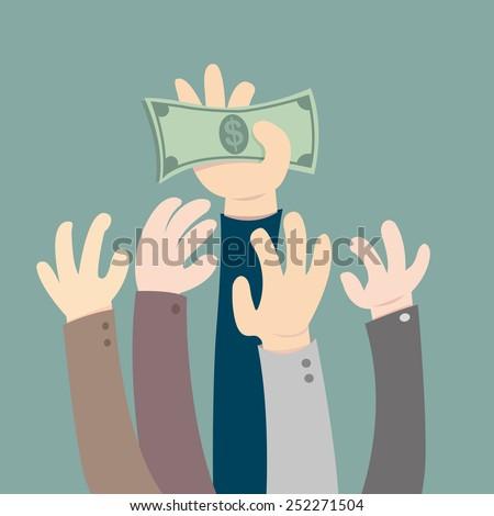 Hand holding dollar - stock vector