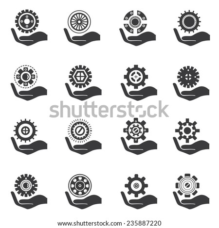 hand holding gear set, gear icons - stock vector