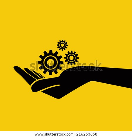 Hand holding gears. Vector Illustration. - stock vector
