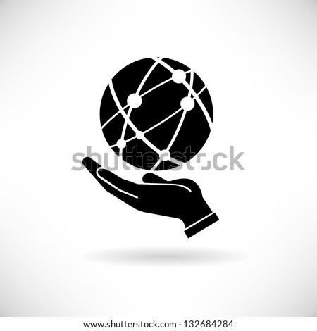 hand holding globe, social network - stock vector