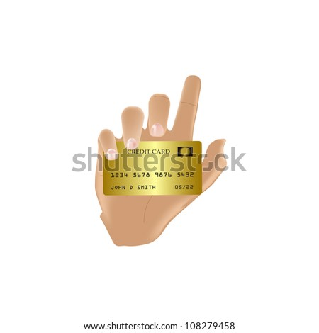 Hand Holding Gold Credit Card Vector