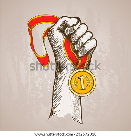 Hand holding golden medal champion prize winner reward sketch vector illustration - stock vector