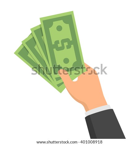 Hand holding green money banknotes. Vector flat design illustration