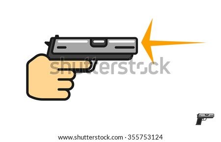 Hand holding gun shooting vector illustration, shot flash, shooting range logo, pistol flat icon, shooting gallery school linear symbol, outline label modern design isolated on white