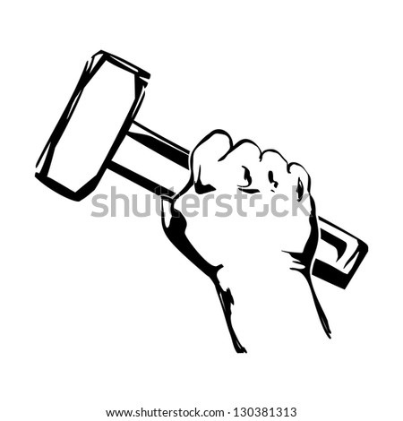 hand holding hammer vector black illustration