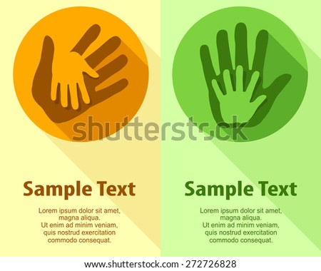 Hand holding hand in round & text, vector illustration - stock vector