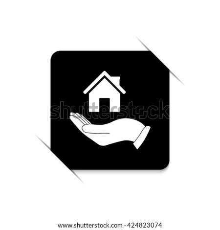 Hand holding home -  black vector icon