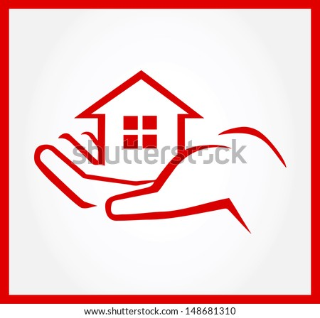 Hand Holding House - stock vector