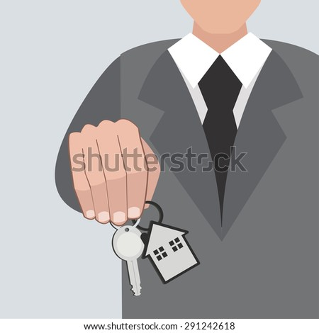 Hand holding house keys / illustration / vector / business concept / flat design - stock vector