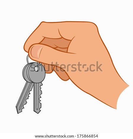 Hand holding house keys isolated on a white background - stock vector
