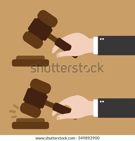 Hand holding judges gavel - stock vector