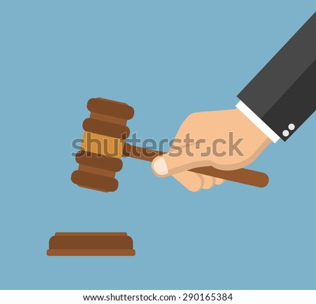 Hand holding judges gavel - Flat style - stock vector