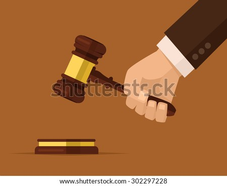 Hand holding judges gavel. Vector flat cartoon illustration - stock vector