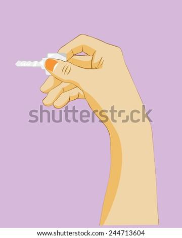 Hand holding key. - stock vector